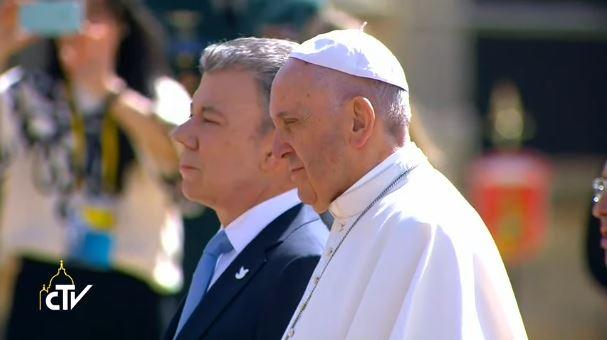 Bogotà (Colombia), 7 settembre 2017: Papa Francesco incontra il Presidente Juan Manuel Santos Calderón